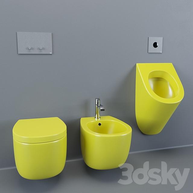 NIC design. Rimless Sospeso. Bidet sospeso milk. U urinal.