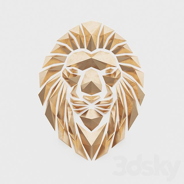 Polygonal golden lion