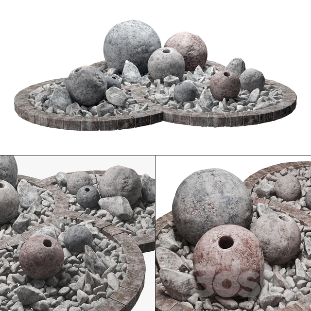 Flowerbad stone sphere decor / Stone bed with spherical decor