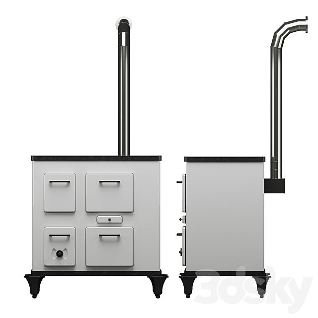 Wood stove with hob