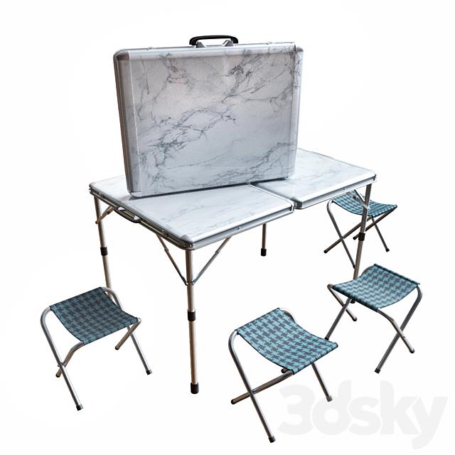 Folding picnic table set