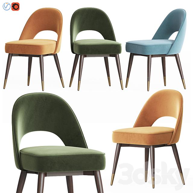 Mid Century Modern Dark Velvet Dining Chair