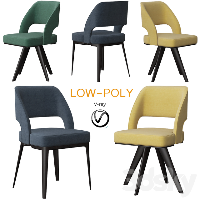 Poliform Owens Dining Chair Set (low poly)