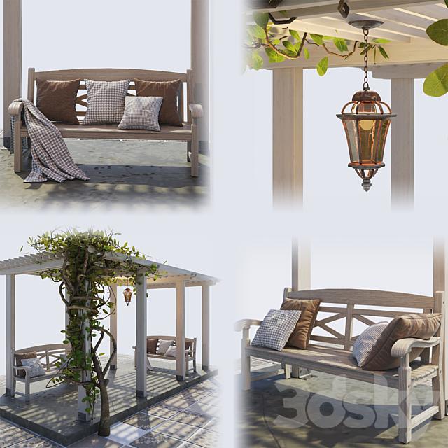 Painted Wooden Pergola