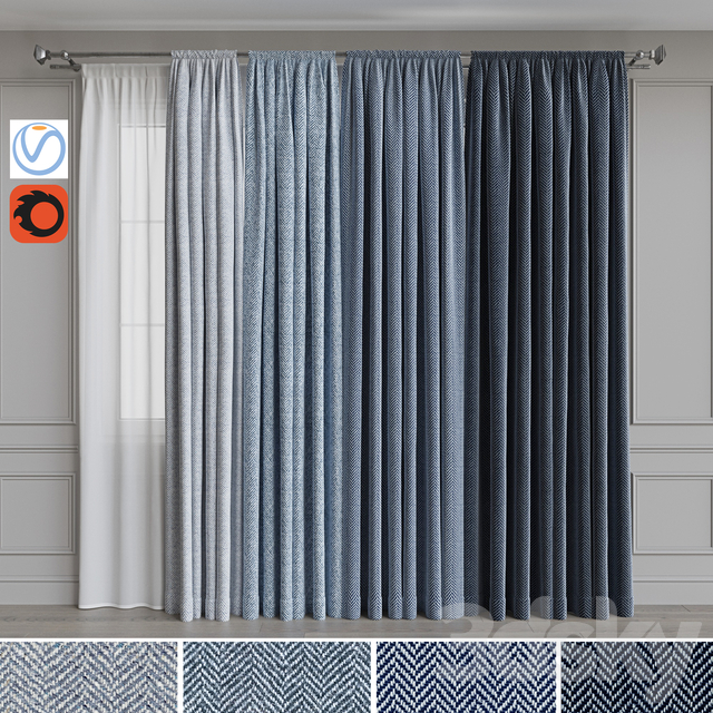 Set of curtains on the eaves 22. Blue gamma