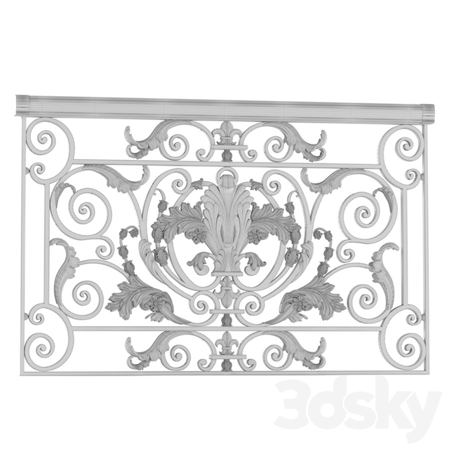 Classic wrought iron enclosure with cast inlays. Classic forged fence