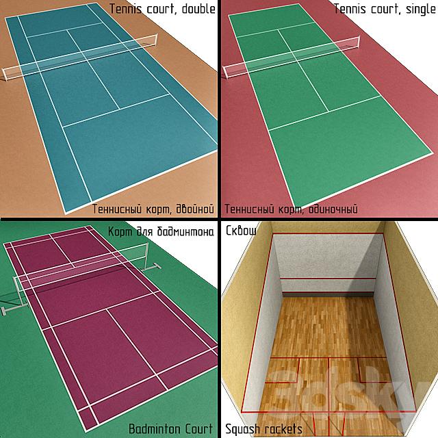 Court: tennis, badminton, squash