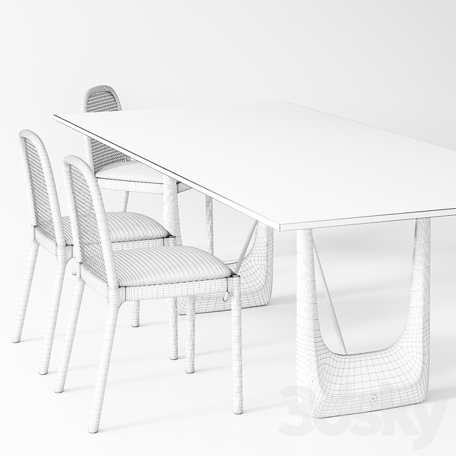 3d Models Table Chair Cb2 Nadia Cane Chair Rocco Rectangular Marble Dining Table