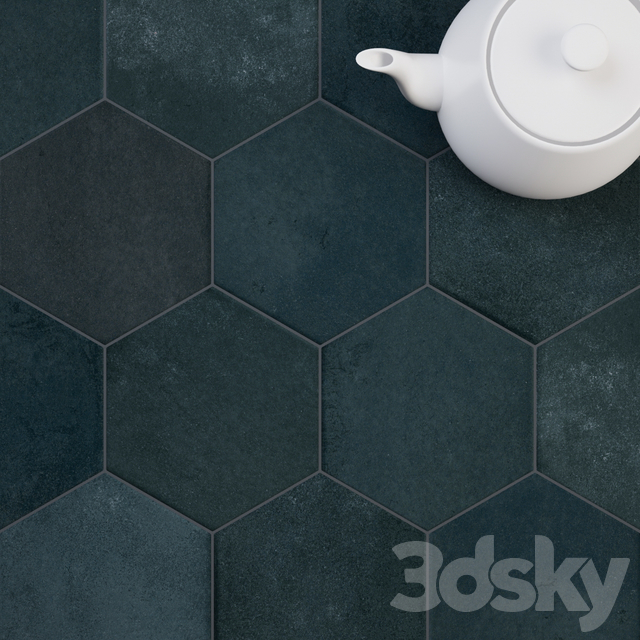 CIR Miami Esagona Green Blue (Ex Petrolio) Tile Set