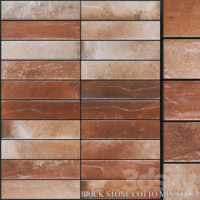 Yurtbay Seramik Brick Stone Cotto Mix Set 12