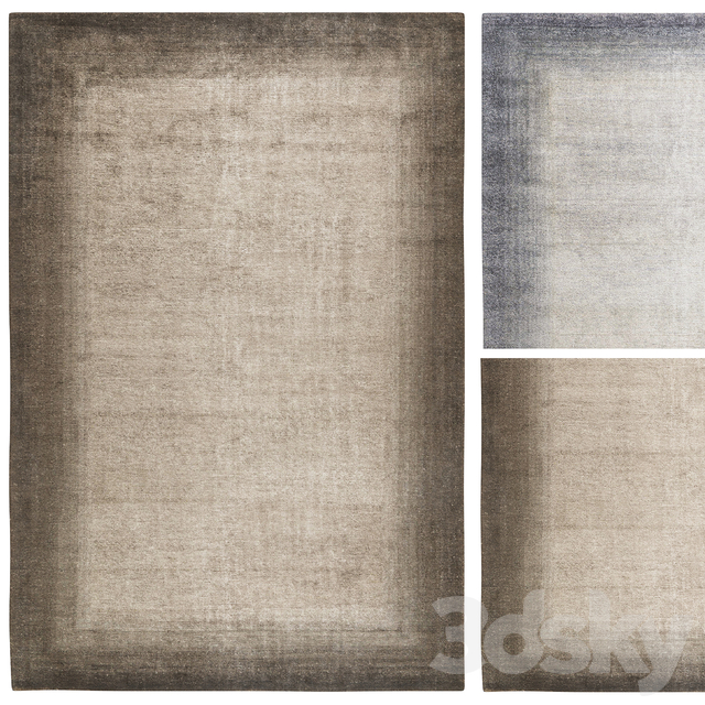 Bamboo Corner Rug Charcoal | Blue by The Rug Company