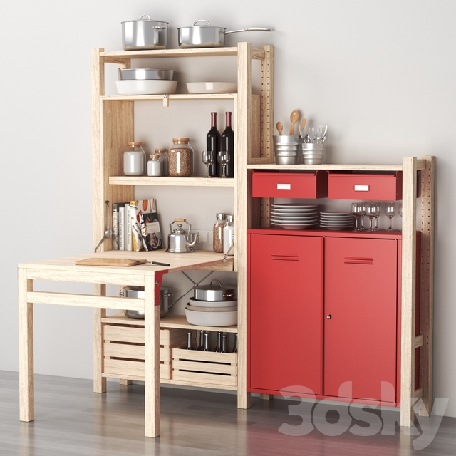 Ikea IVAR Shelving with table / cabinets / drawers and kitchen decor set