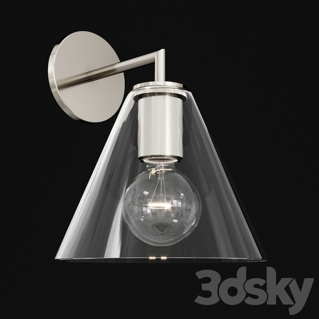 Utilitaire Funnel Shade Single Sconce Silver