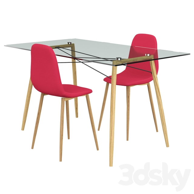 Table Chair Dunnell 3 Piece Dining Set