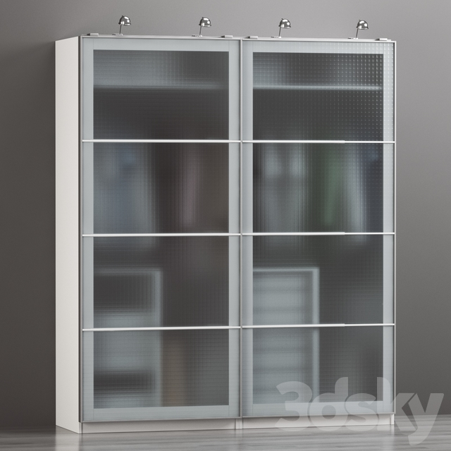 "IKEA PAX wardrobe   IKEA PAX wardrobe white, Nyukirha tempered glass, ""cell"" ornament."