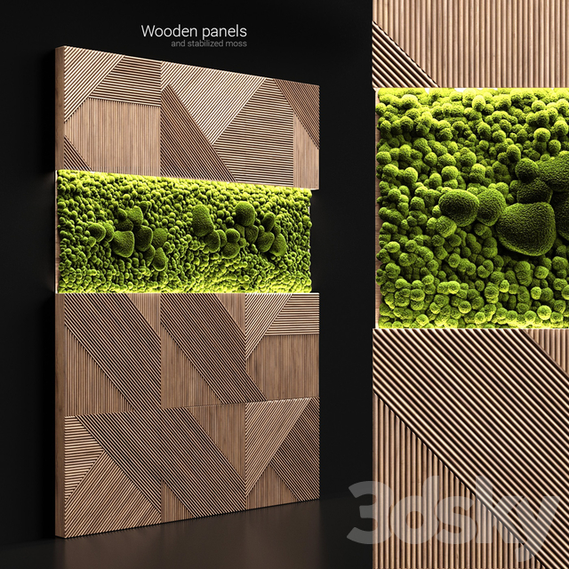 Wooden panels and stabilized moss