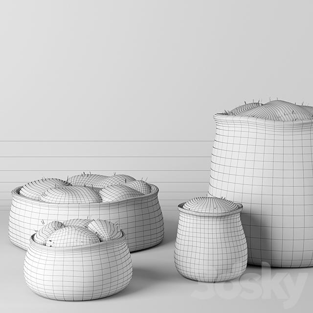 RH Crosshatch concrete vases