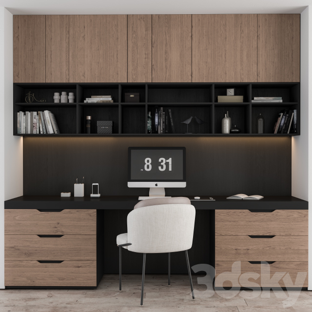 Home Office Black and Wood