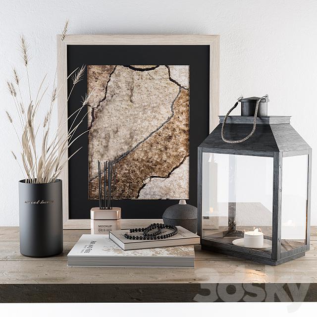 Decorative Black Set - Wheat and Lantern