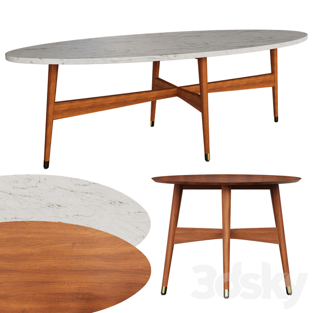 3d Models Table Reeve Mid Century Oval Coffee Table West Elm