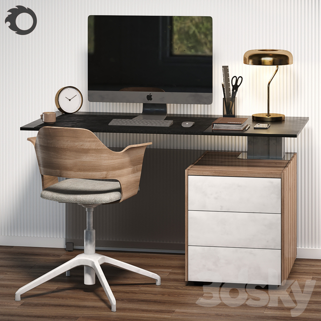 Workplace with BENE table and IKEA chair