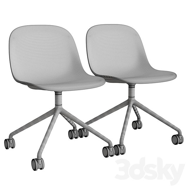 Fiber Side Chair Swivel W. Castors