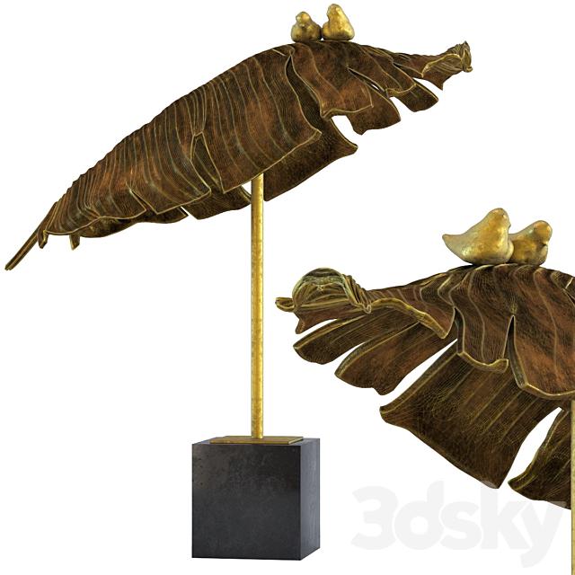 Deco Object Birds Banana Leaf