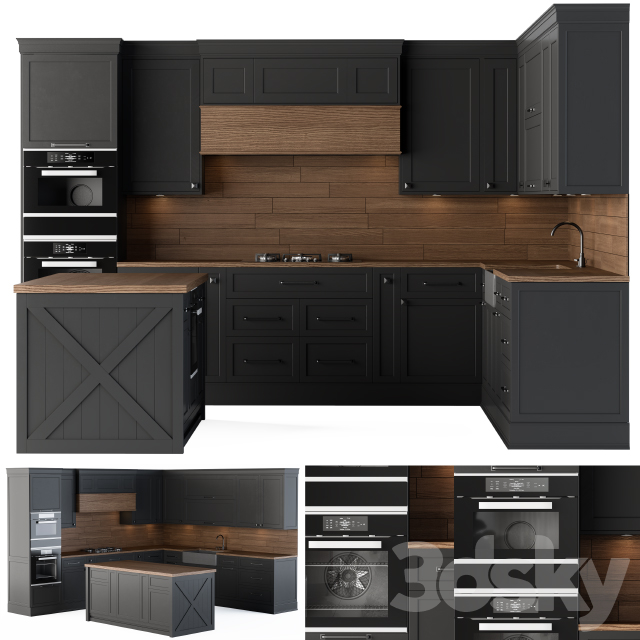 Kitchen Neoclassic Black and Wood