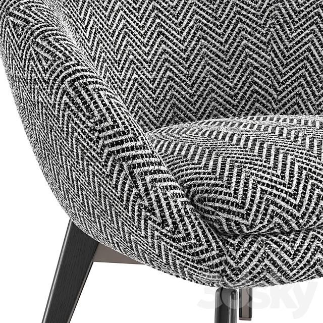 Minotti Russell Lounge Little Armchair Fixed