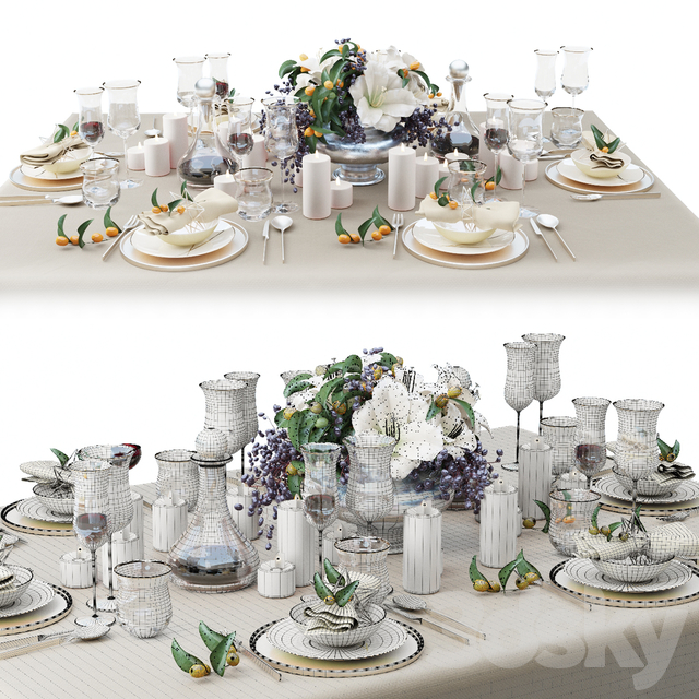 Zara Home table setting with a bouquet of lilies