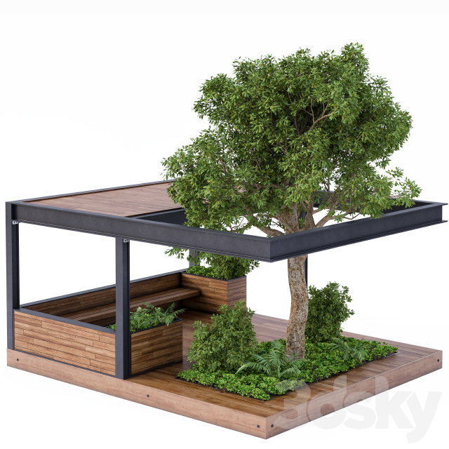 Landscape Furniture / Architecture Arbor with Tree