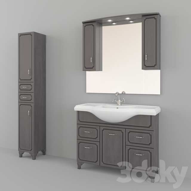 Furniture for a bathroom of production Kaksa-A / Patina Dark gray 1050