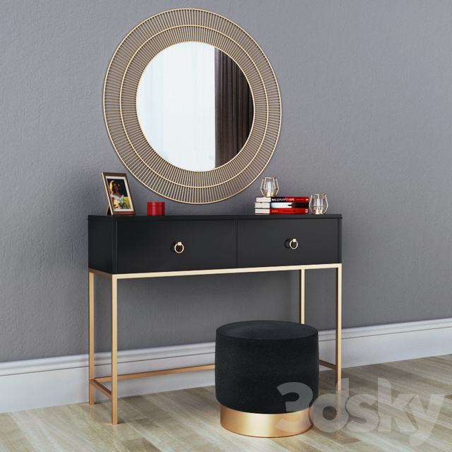 CAZARINA interiors | Dressing table with mirror and ottoman