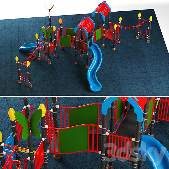 Kids playground equipment with slide climbing 08