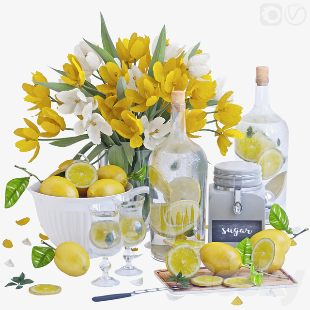Decorative set with lemons