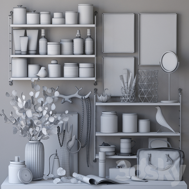 Decorative set for a dressing table