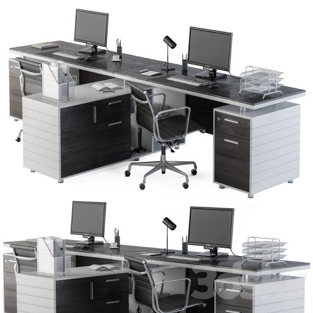 Office Furniture Gray And Black Employee Set