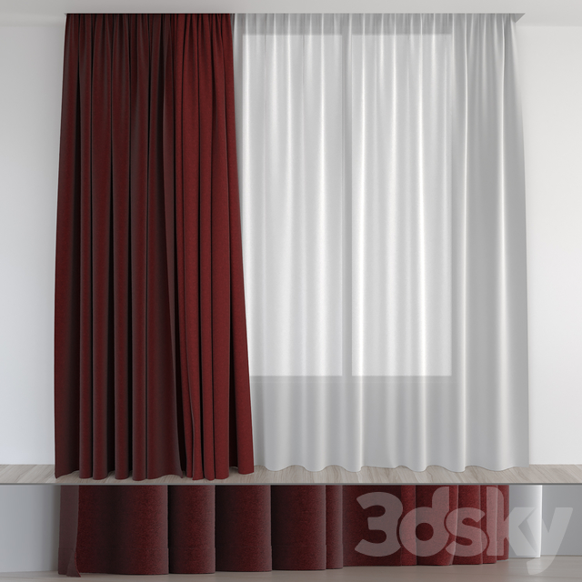 Curtains are dark red