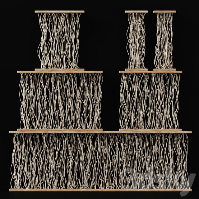 Planter white croked branch n2 / Cache-pot partitions from white curved branches