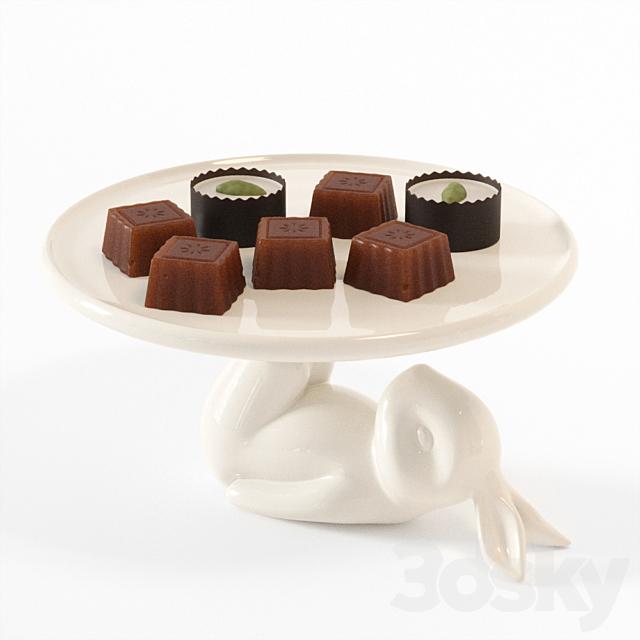Lazy Rabbit Cupcake Plate