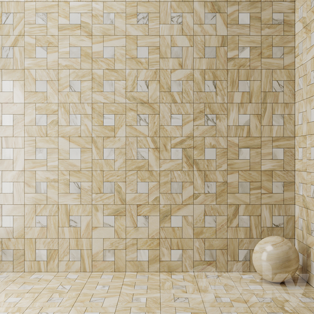 ATLAS CONCORDE RUSSIA - Calacatta Gold Mosaic \ Frappuccino Dark Mosaic \ Elegant Honey Mosaic