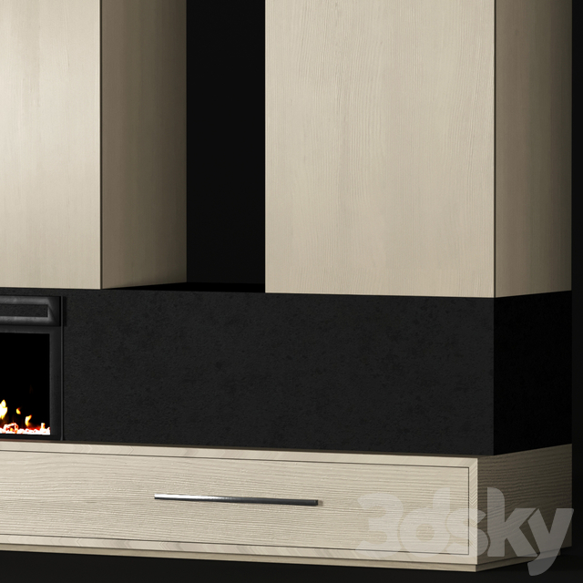 Modern built-in fireplace