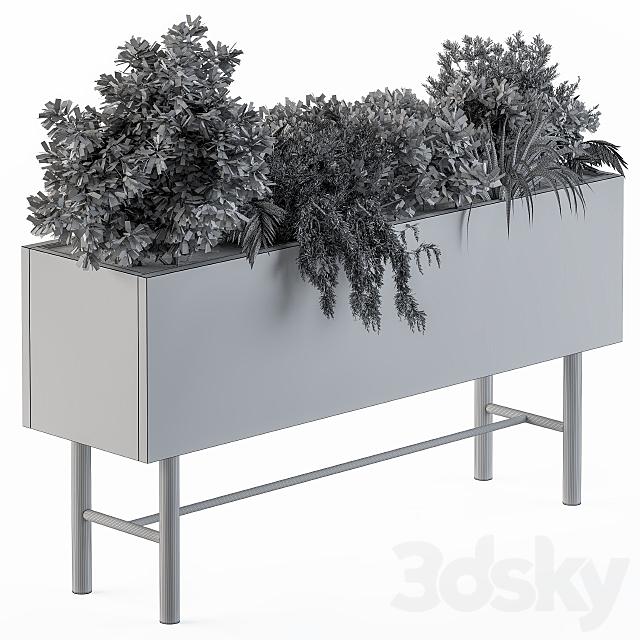 Wood box plants on stand