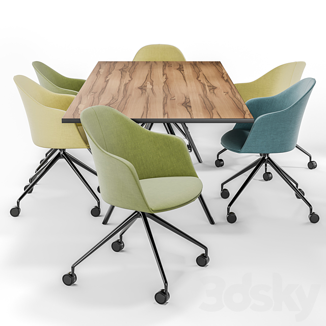Arper CILA ARMCHAIR TRESTLE FIXED and MEETY Wood Table