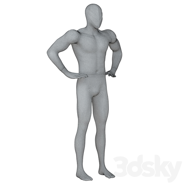 Abstract white mannequin with golden hands 87