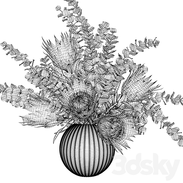 Bouquet with white proteas and eucalyptus in a ribbed glass vase