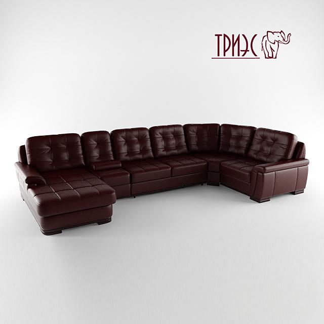 Модульный угловой диван с оттоманкой и баром  Диана-3 (фабрика ТРИЭС)