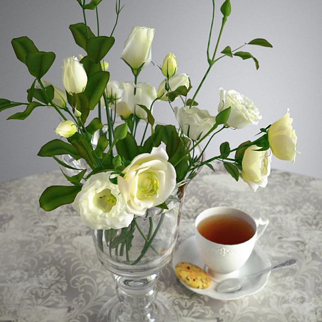 Чашка чая и букет