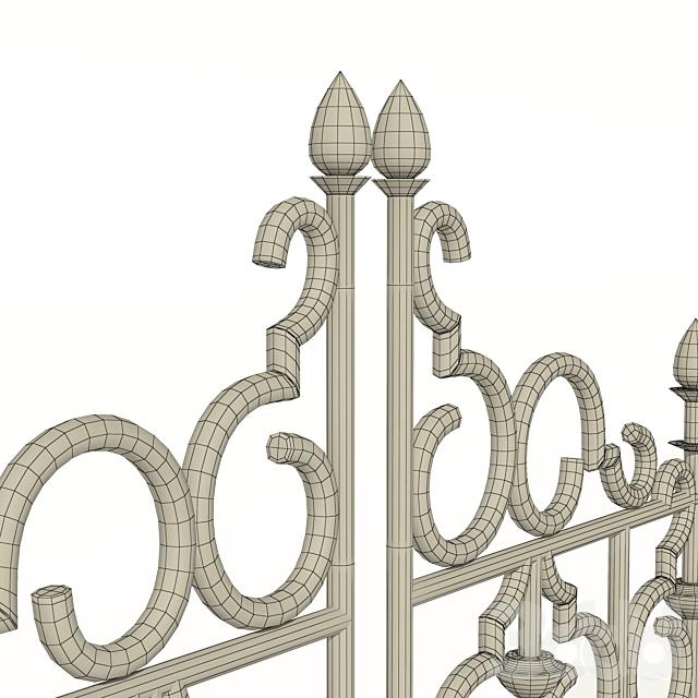 Забор каменный с ковкой