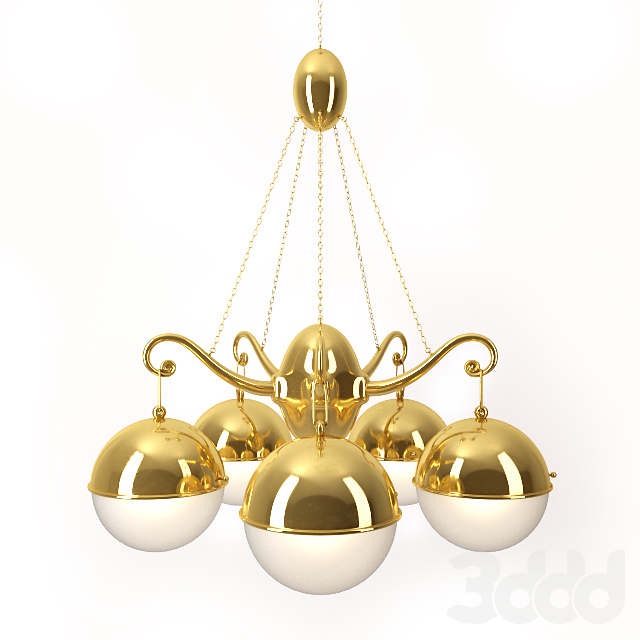Five Arm Chandelier by Josef Hoffmann